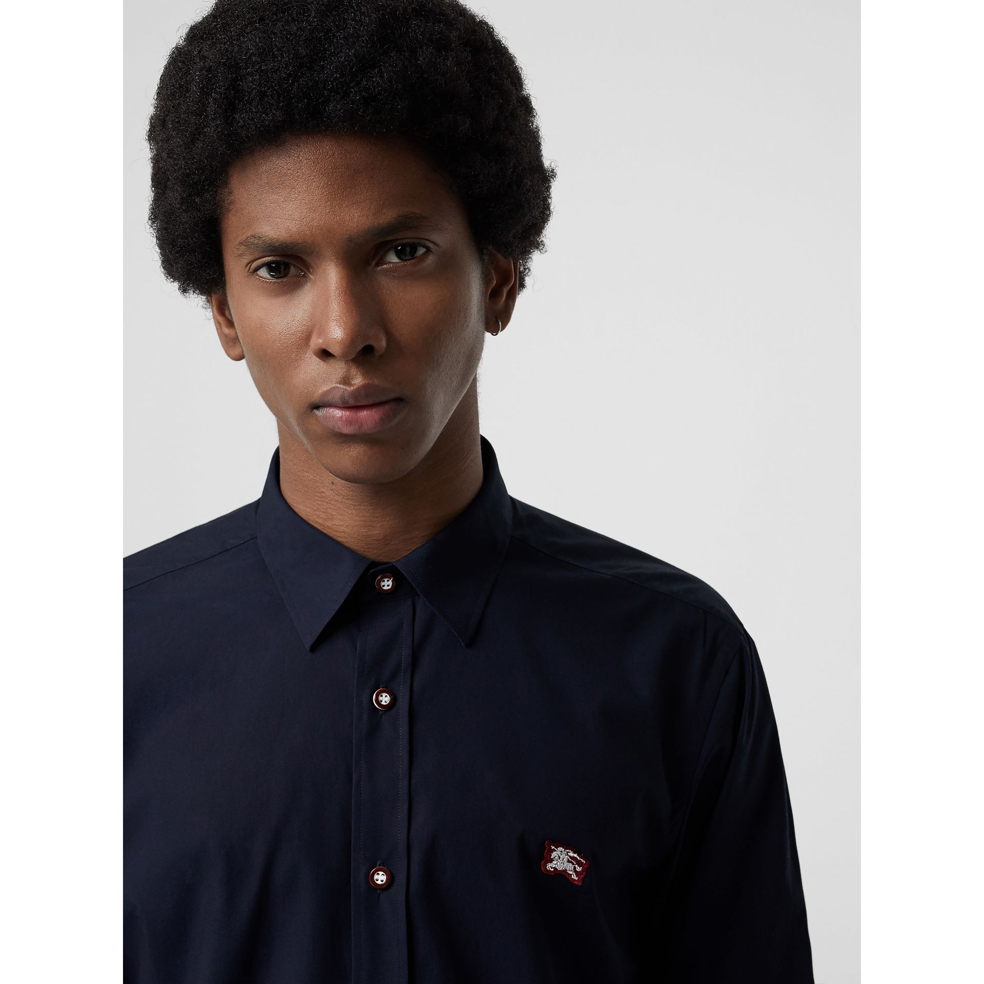 Contrast Button Stretch Cotton Shirt in Navy - Men | Burberry - gallery image 1