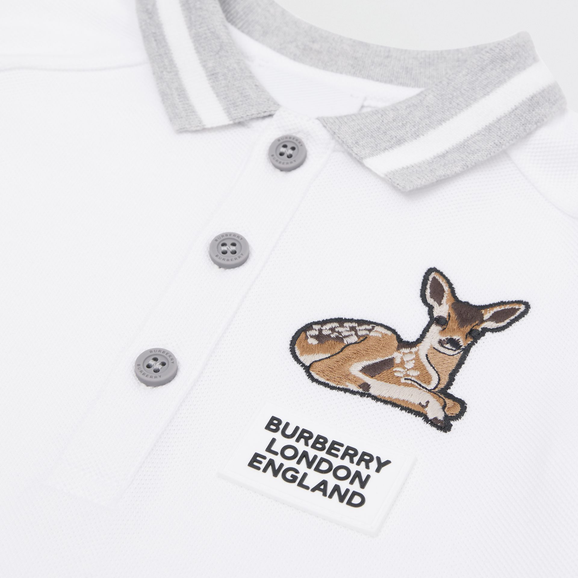 Deer Motif Cotton Polo Shirt in White - Children | Burberry Canada - gallery image 1