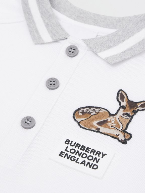 Deer Motif Cotton Polo Shirt in White - Children | Burberry Canada - cell image 1