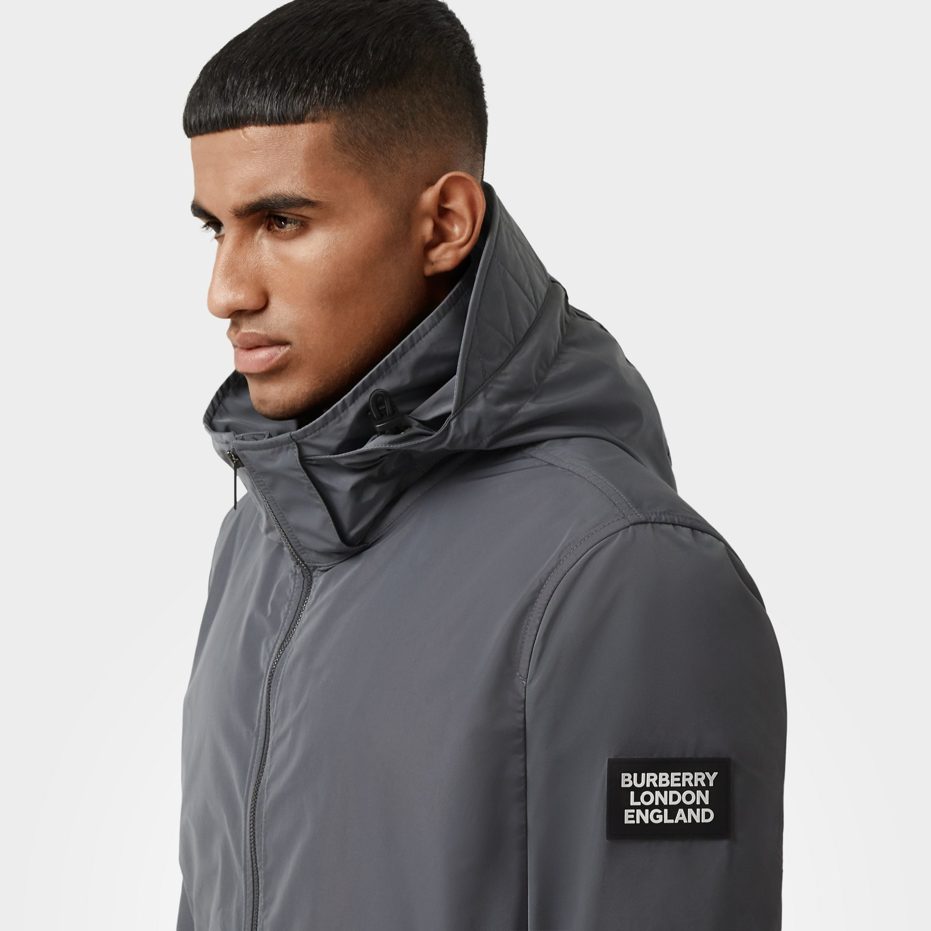 Packaway Hood Shape-memory Taffeta Jacket in Steel Grey - Men | Burberry Australia - gallery image 4