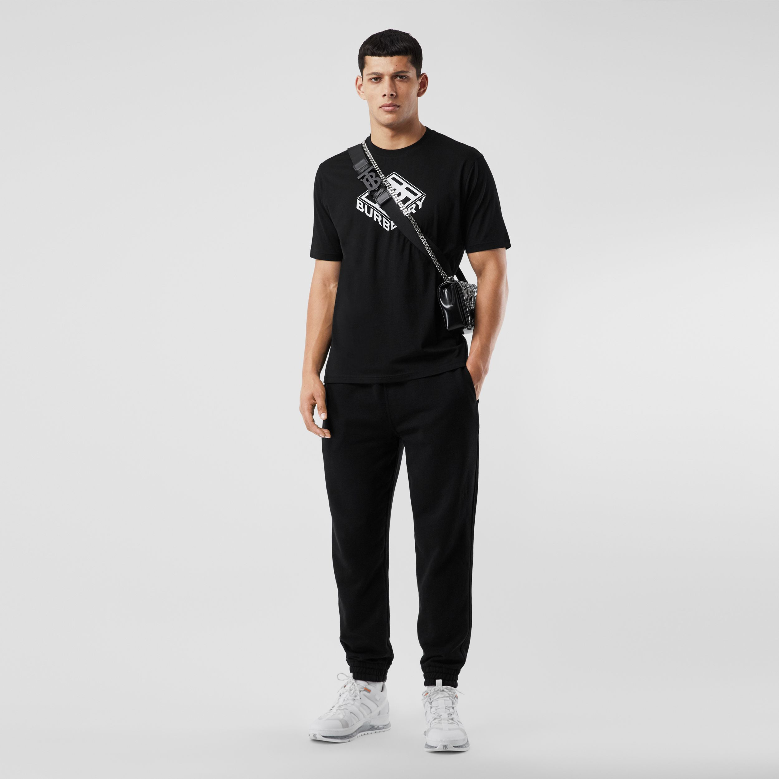Logo Appliqué Cotton Trackpants in Black - Men | Burberry - 1