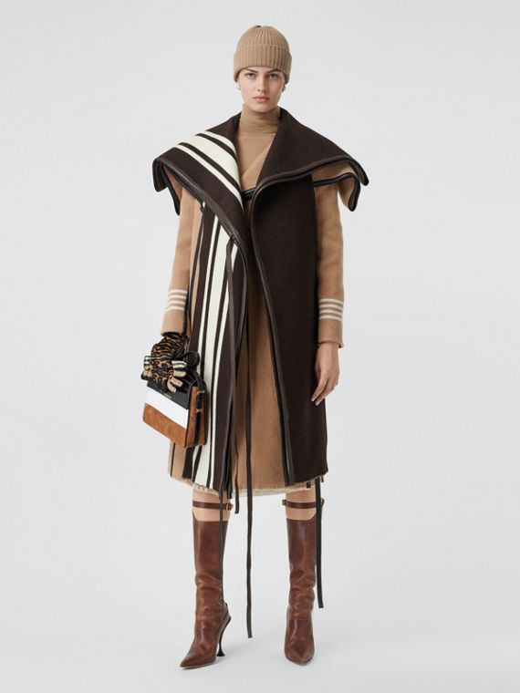 Lambskin Trim Stripe Detail Wool Jacquard Cape in Brown
