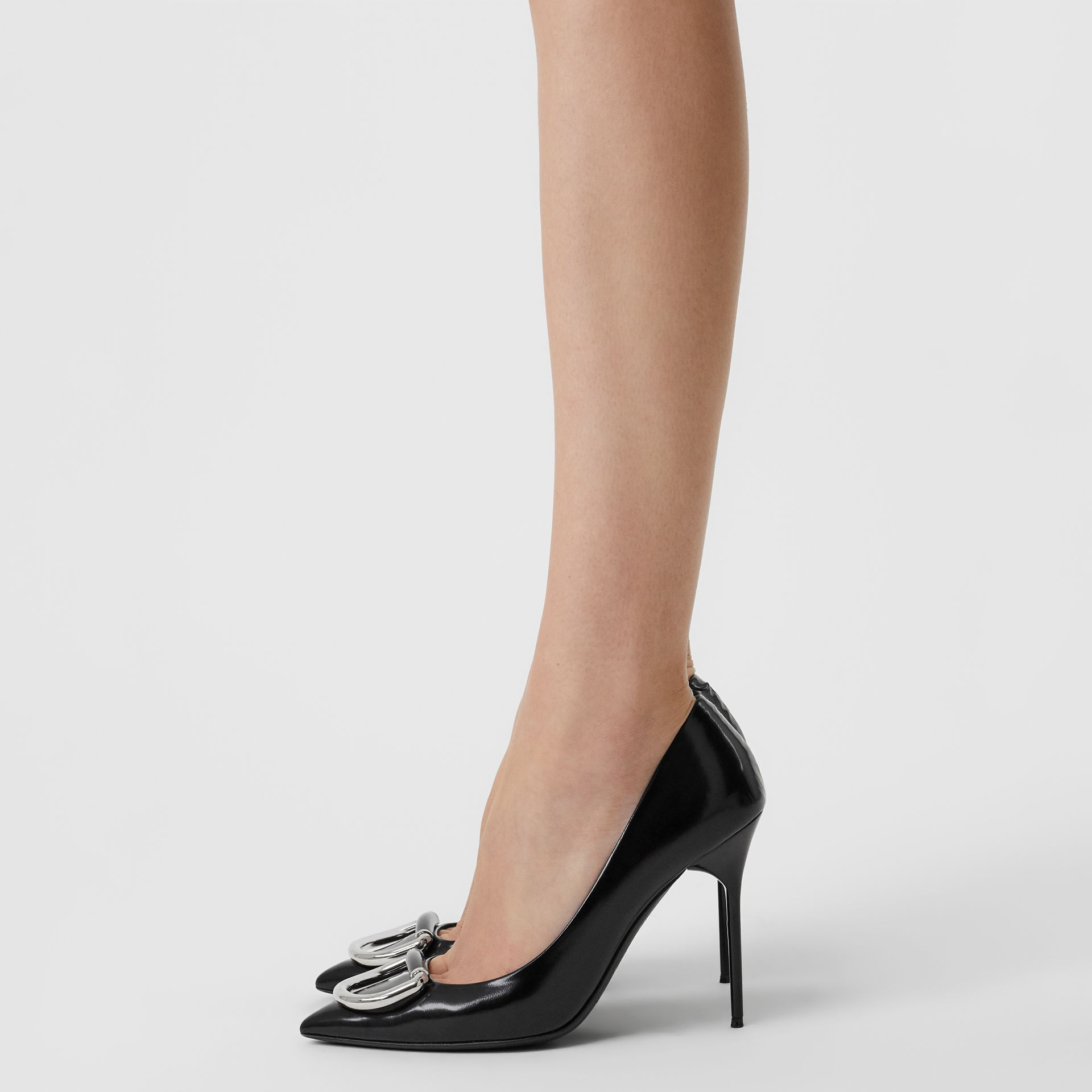 The Patent Leather D-ring Stiletto in Black/nickel - Women | Burberry United Kingdom - gallery image 2
