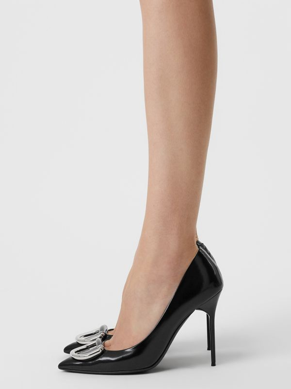 The Patent Leather D-ring Stiletto in Black/nickel - Women | Burberry United Kingdom - cell image 2