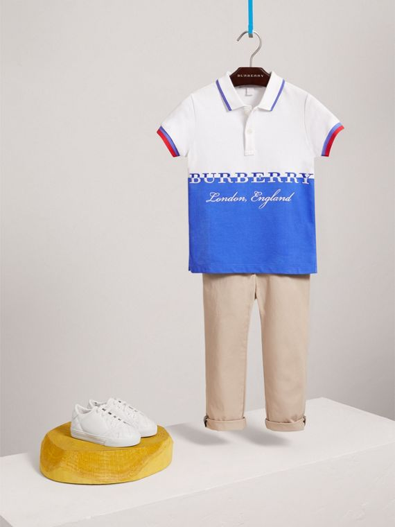 Embroidered Two-tone Cotton Piqué Polo Shirt in Cobalt Blue