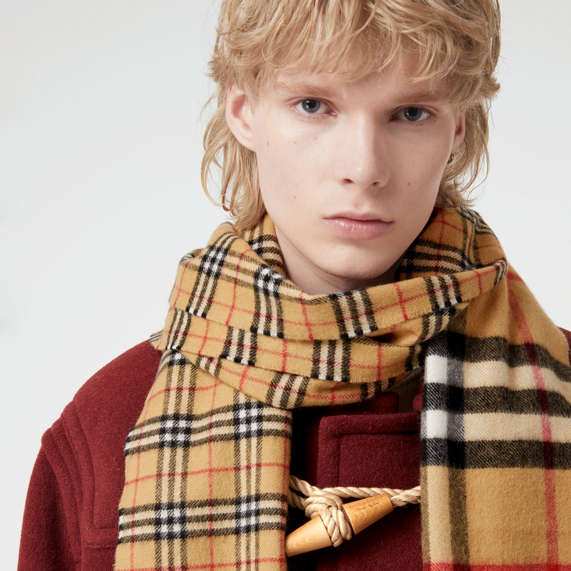 Gosha x Burberry Check Cashmere Double Scarf in Antique Yellow | Burberry - gallery image 5