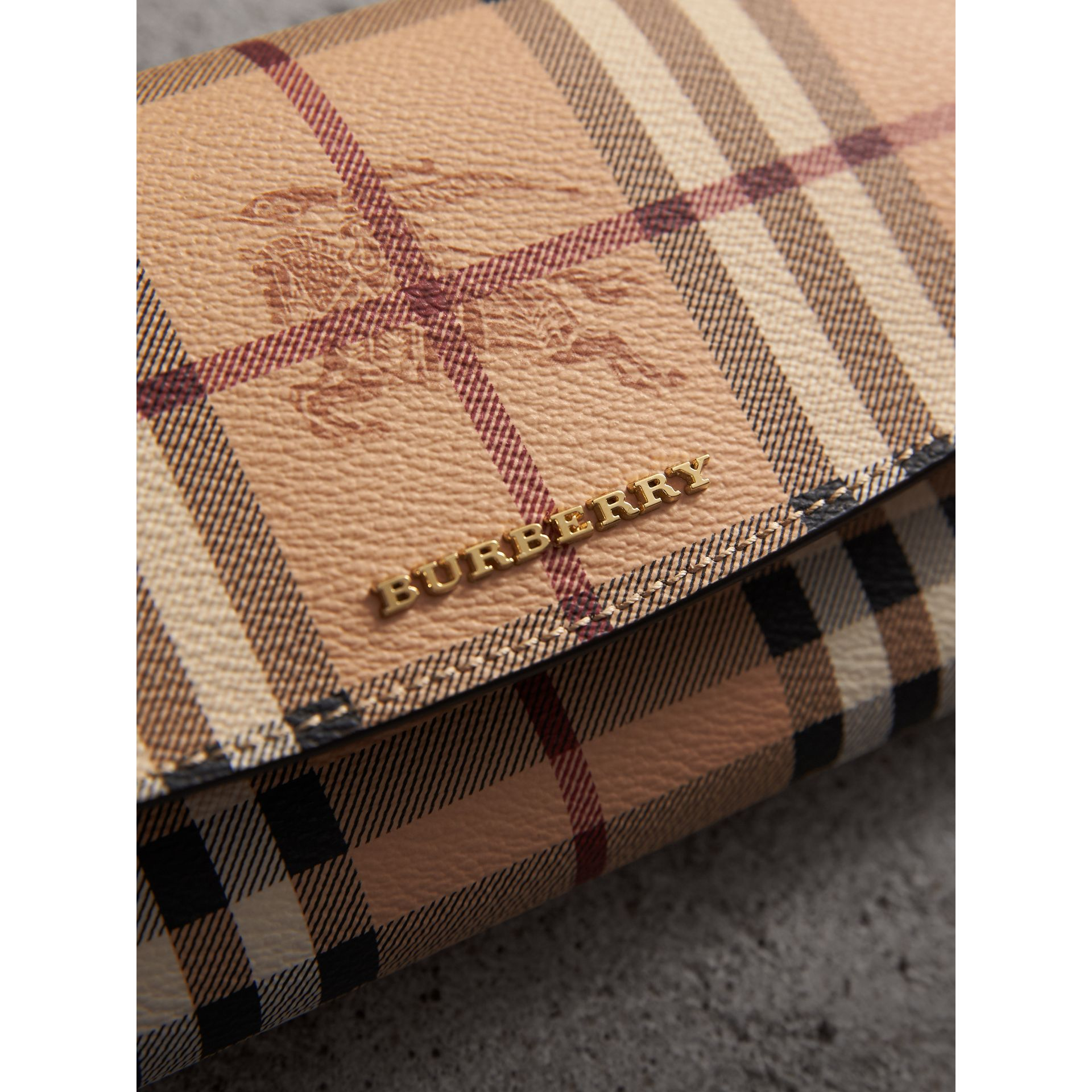 Haymarket Check and Leather Continental Wallet in Tan - Women | Burberry - gallery image 1