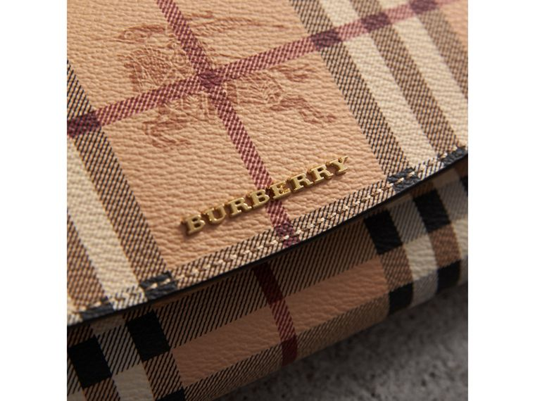Haymarket Check and Leather Continental Wallet in Tan - Women | Burberry - cell image 1