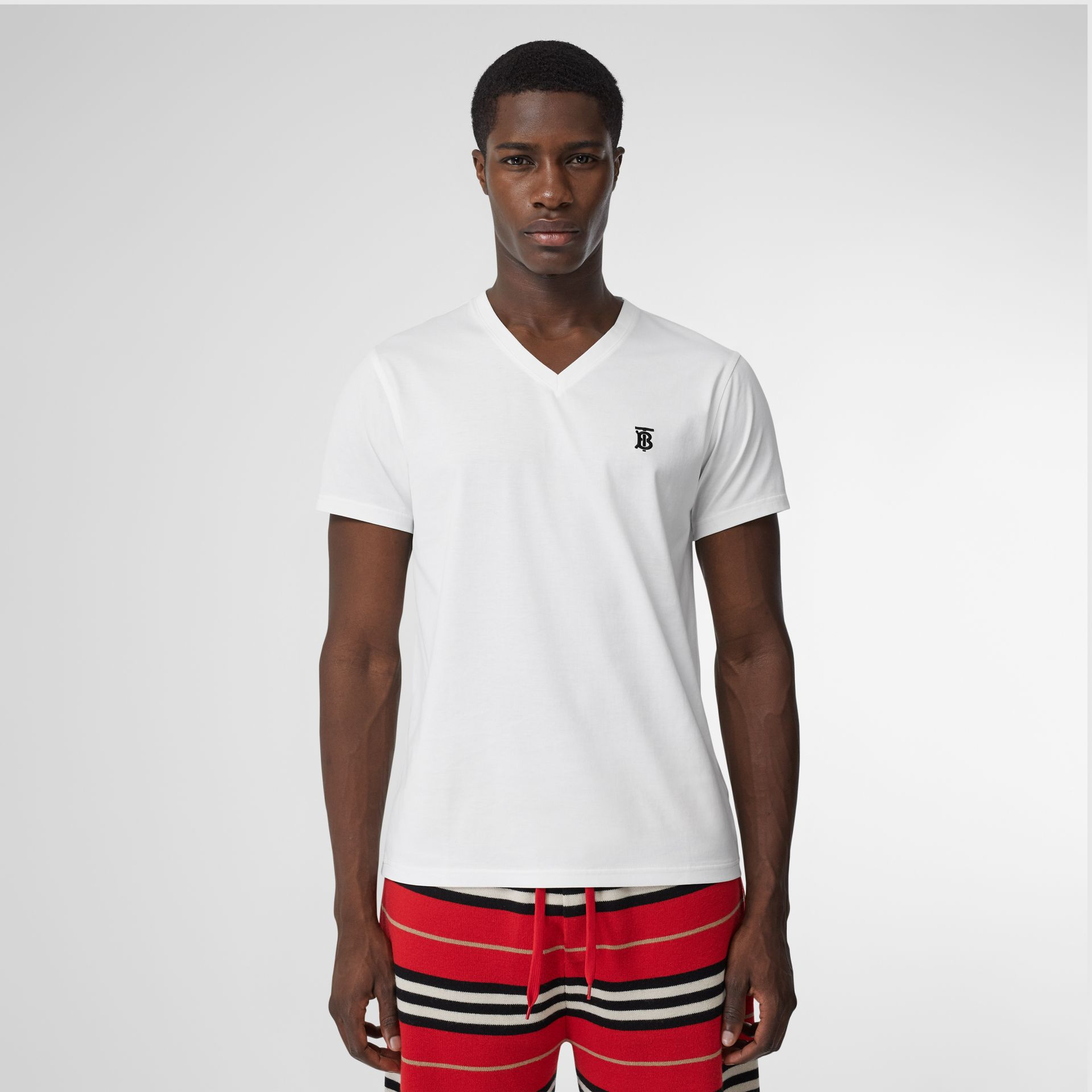 Monogram Motif Cotton V-neck T-shirt in White - Men | Burberry United Kingdom - gallery image 0