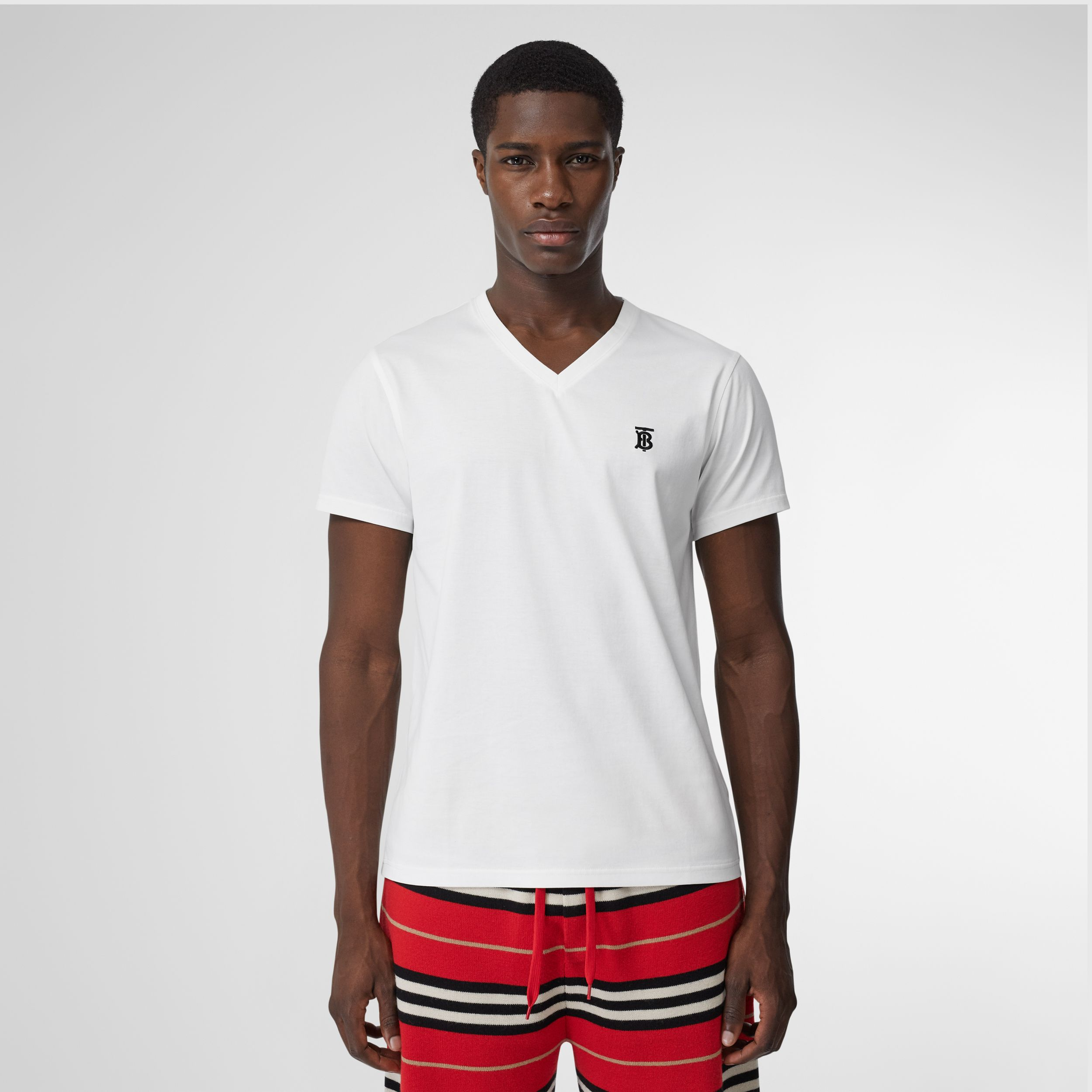 Monogram Motif Cotton V-neck T-shirt in White - Men | Burberry - 1