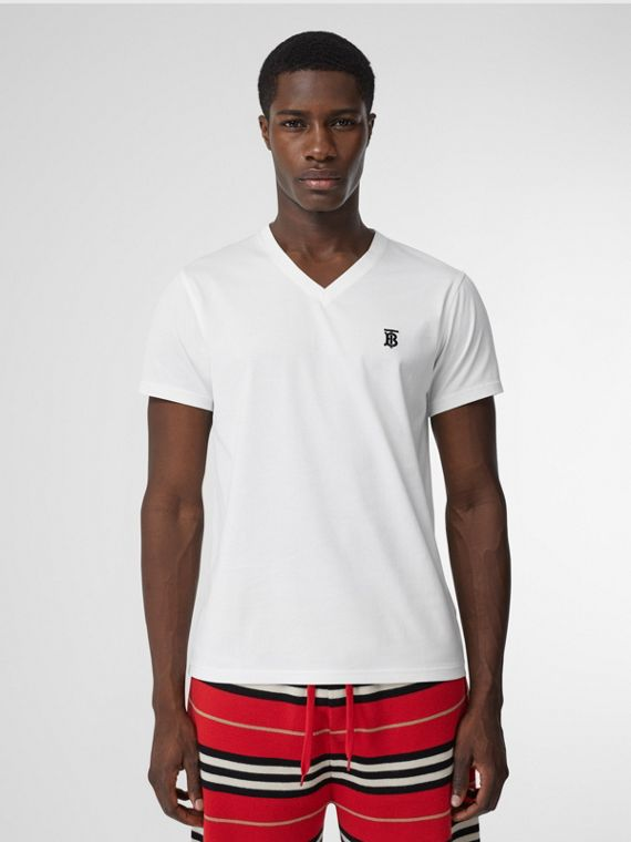 T-shirt à col en V en coton Monogram (Blanc)