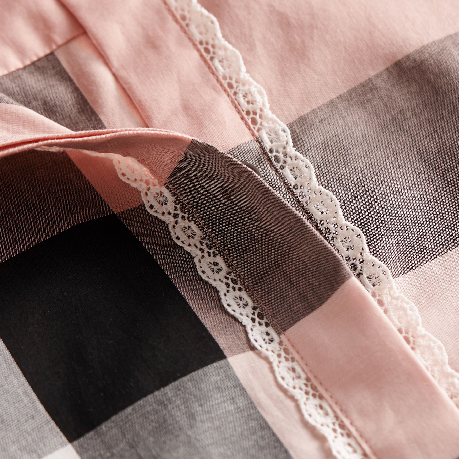 Lace Trim Check Cotton Shirt in Antique Pink - Women | Burberry - gallery image 2