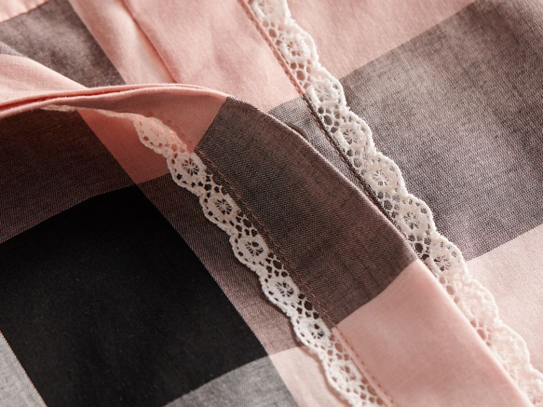 Lace Trim Check Cotton Shirt in Antique Pink - Women | Burberry - cell image 1