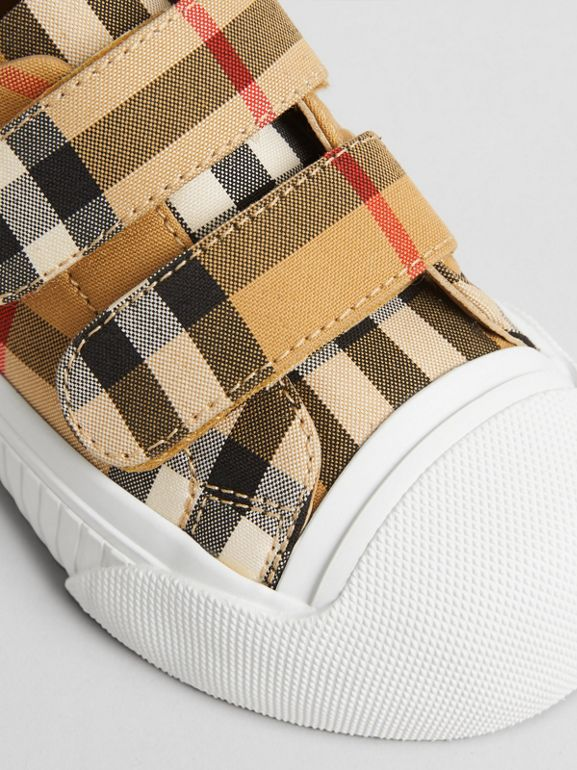 Vintage Check and Leather Sneakers in Optic White/black - Children | Burberry United Kingdom - cell image 1