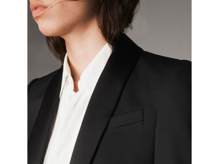 Stretch Wool Tuxedo Jacket in Black - Women | Burberry United Kingdom - cell image 1