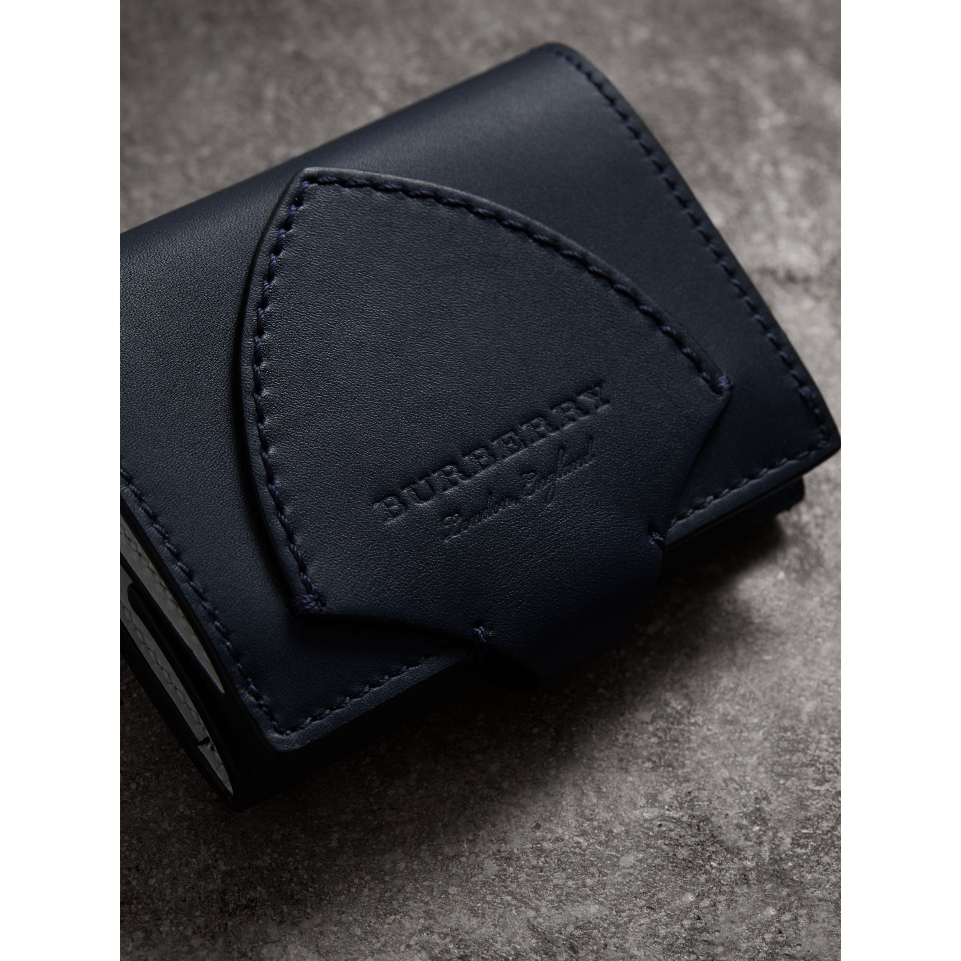 Equestrian Shield Leather Continental Wallet in Mid Indigo - Women | Burberry - gallery image 1