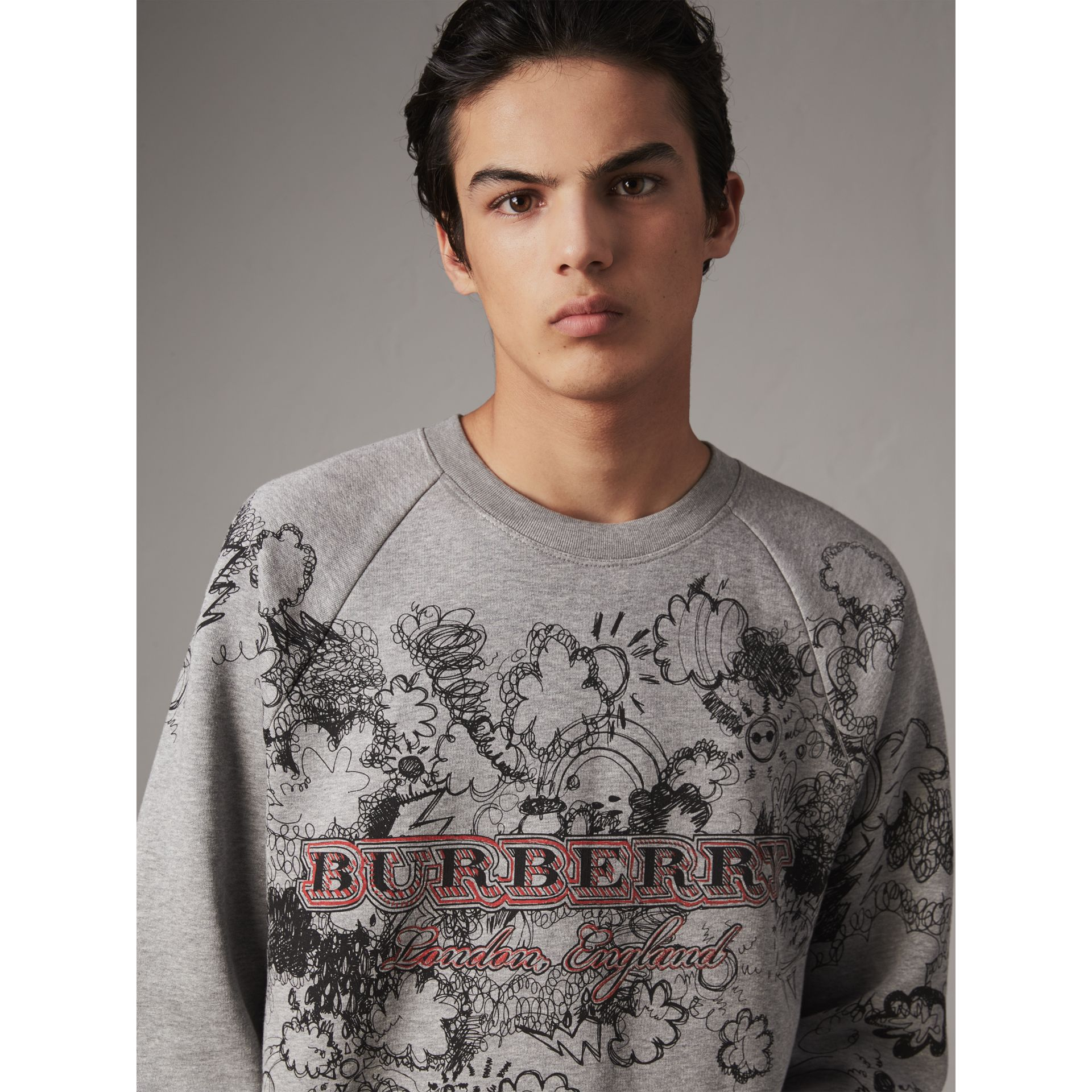Doodle Print Jersey Sweatshirt in Pale Grey Melange - Men | Burberry Singapore - gallery image 1