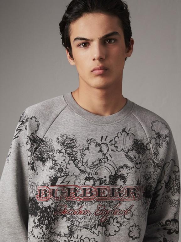 Doodle Print Jersey Sweatshirt in Pale Grey Melange - Men | Burberry - cell image 1