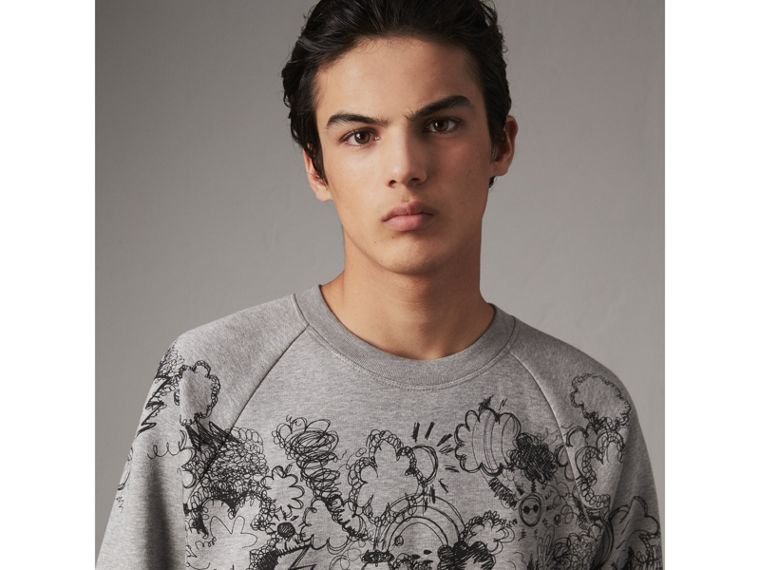 Doodle Print Jersey Sweatshirt in Pale Grey Melange - Men | Burberry Singapore - cell image 1