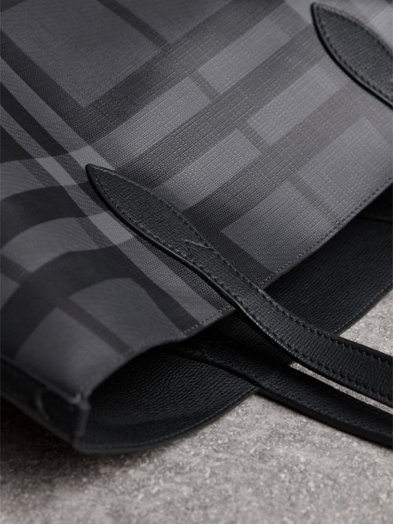 Medium London Check and Leather Tote in Charcoal/black - Men | Burberry - cell image 3