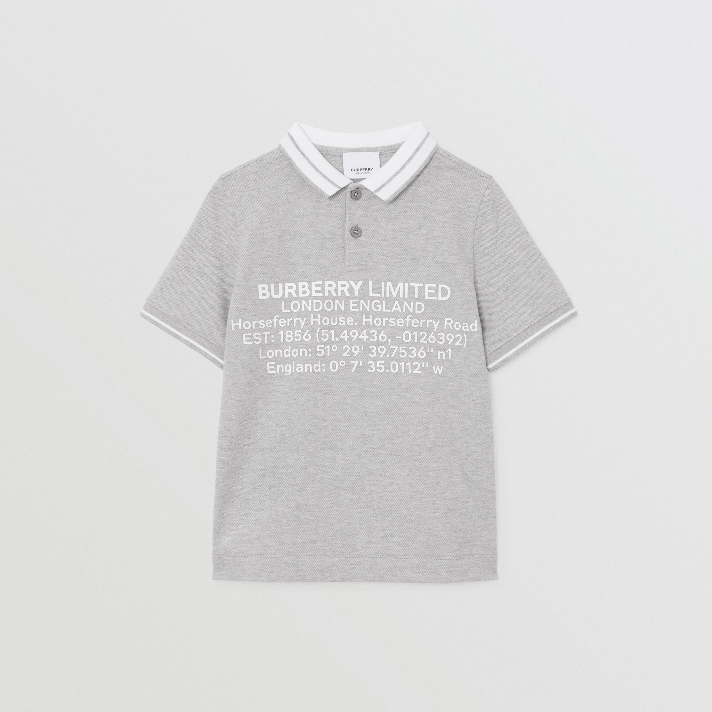 Location Print Cotton Piqué Polo Shirt in Grey Melange - Children | Burberry - 1