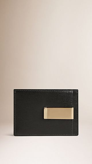 London Leather Money Clip Card Case