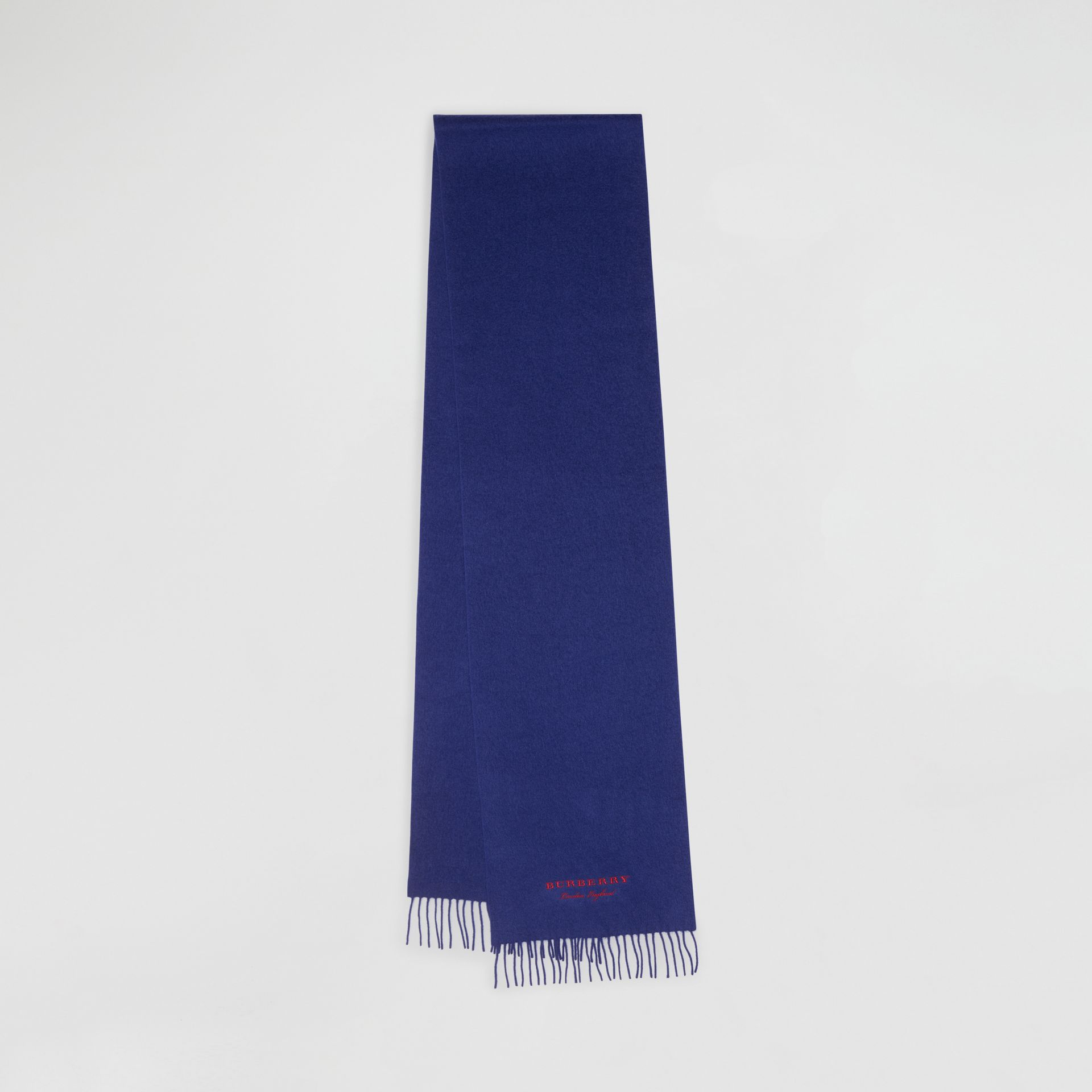 Embroidered Cashmere Fleece Scarf in Bright Navy | Burberry Australia - gallery image 0