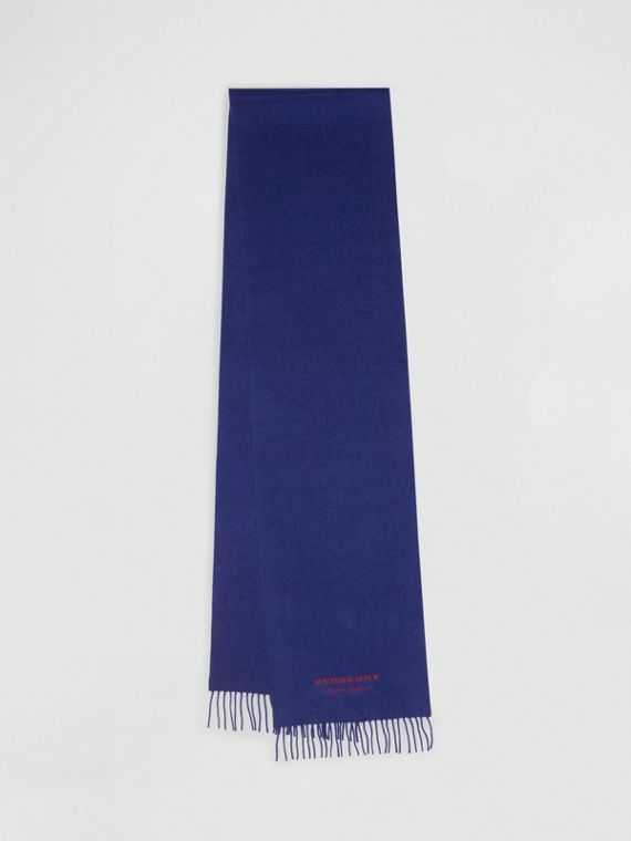 Embroidered Cashmere Fleece Scarf in Bright Navy