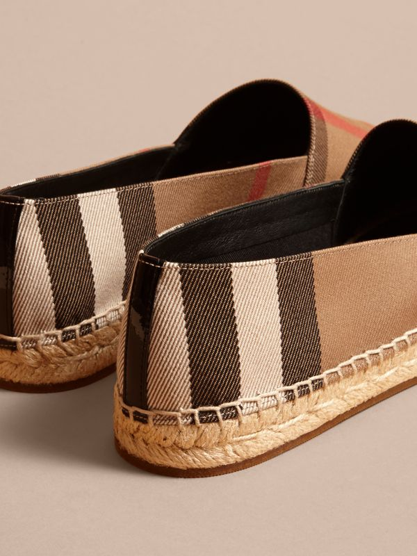 Leather Trim Canvas Check Espadrilles in Classic - Women | Burberry - cell image 3