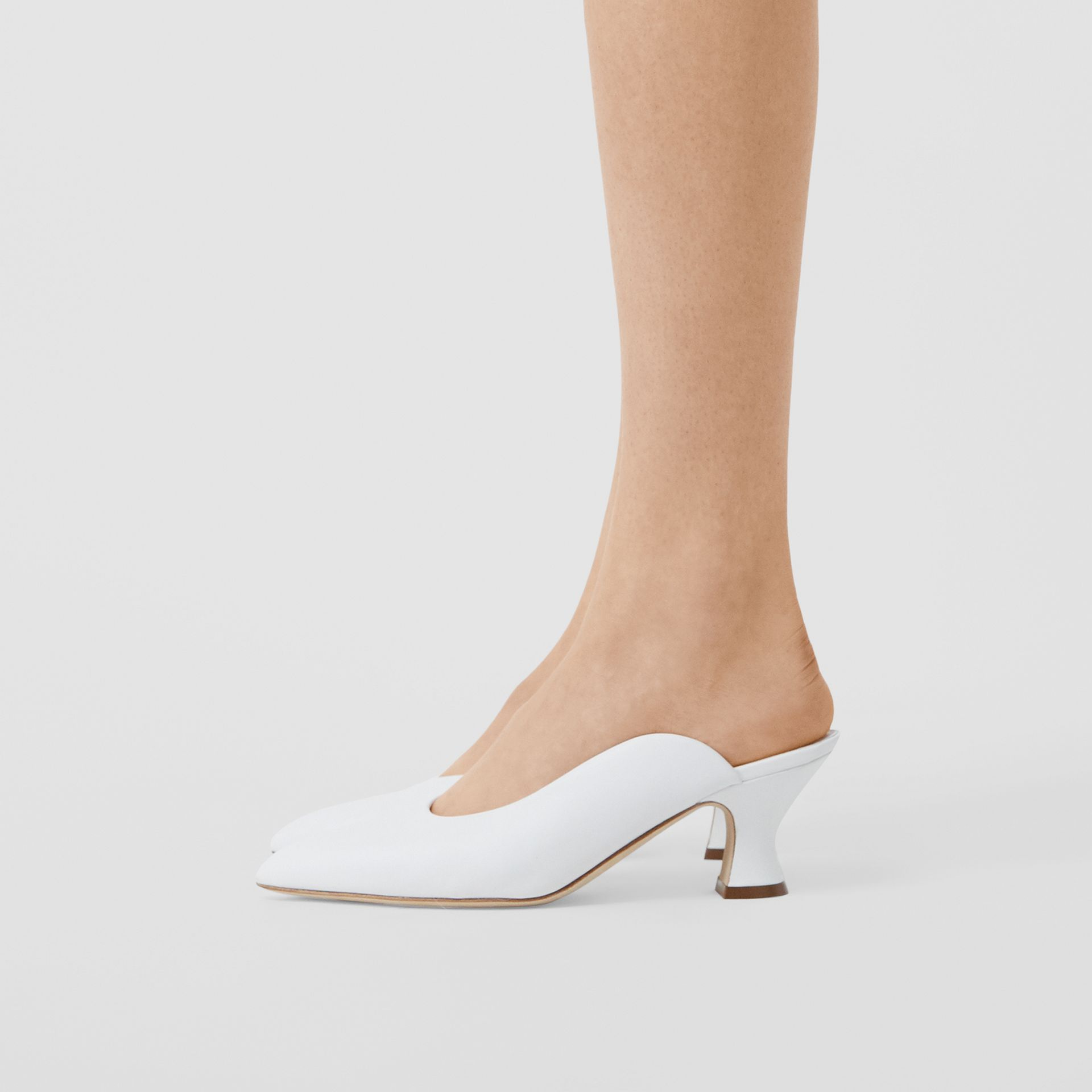 Leather Point-toe Mules in White - Women | Burberry - gallery image 2