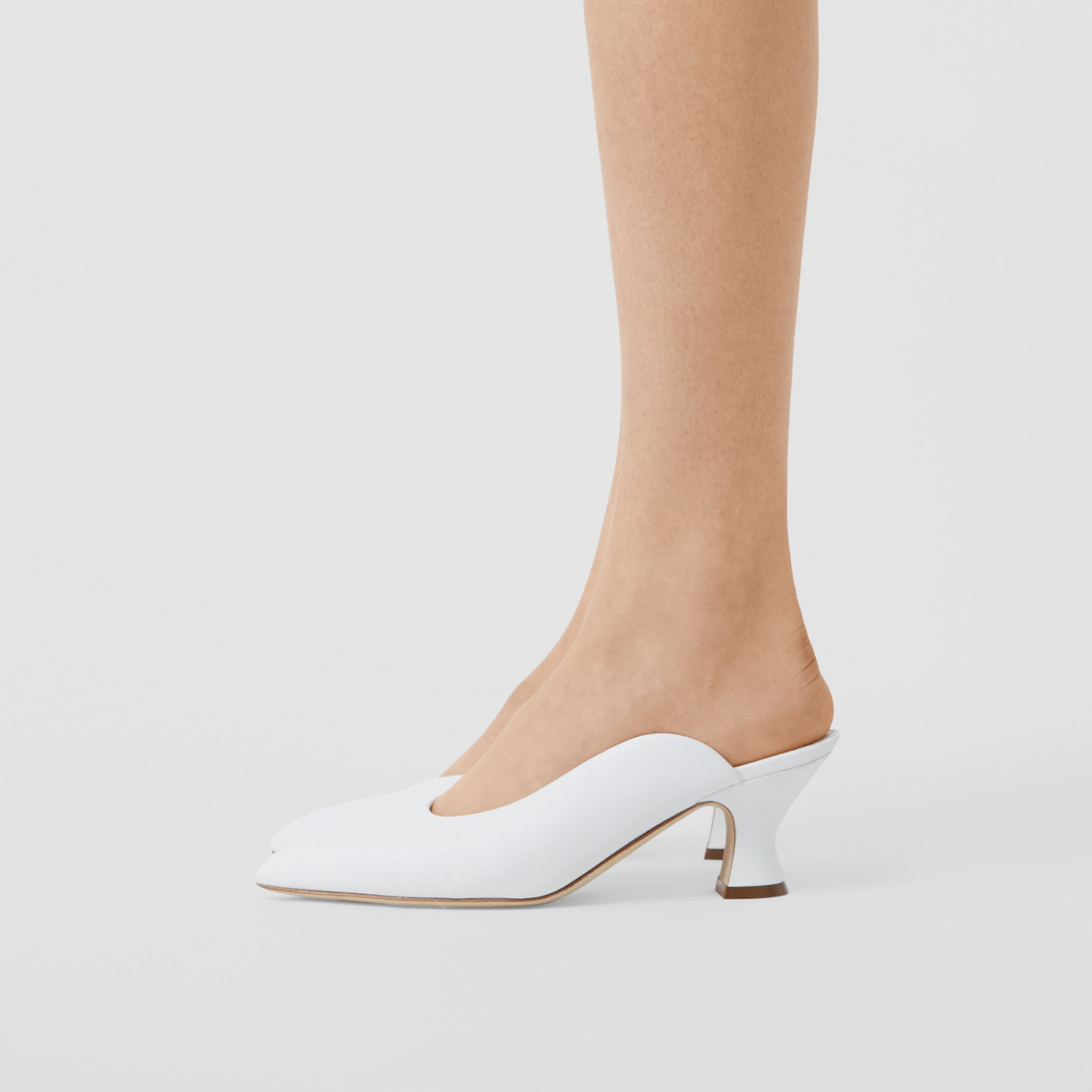 Leather Point-toe Mules in White | Burberry - 3