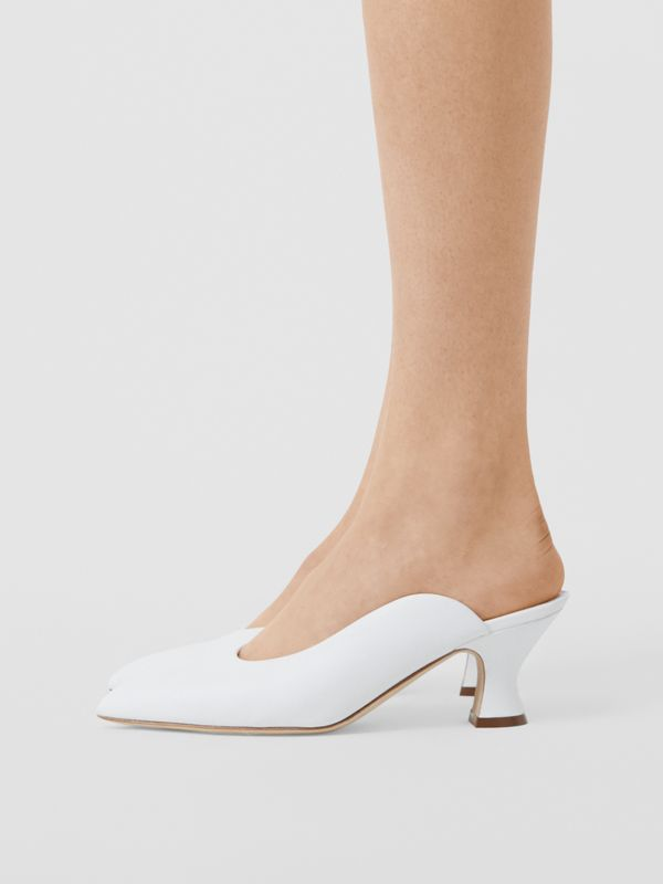 Leather Point-toe Mules in White - Women | Burberry - cell image 2