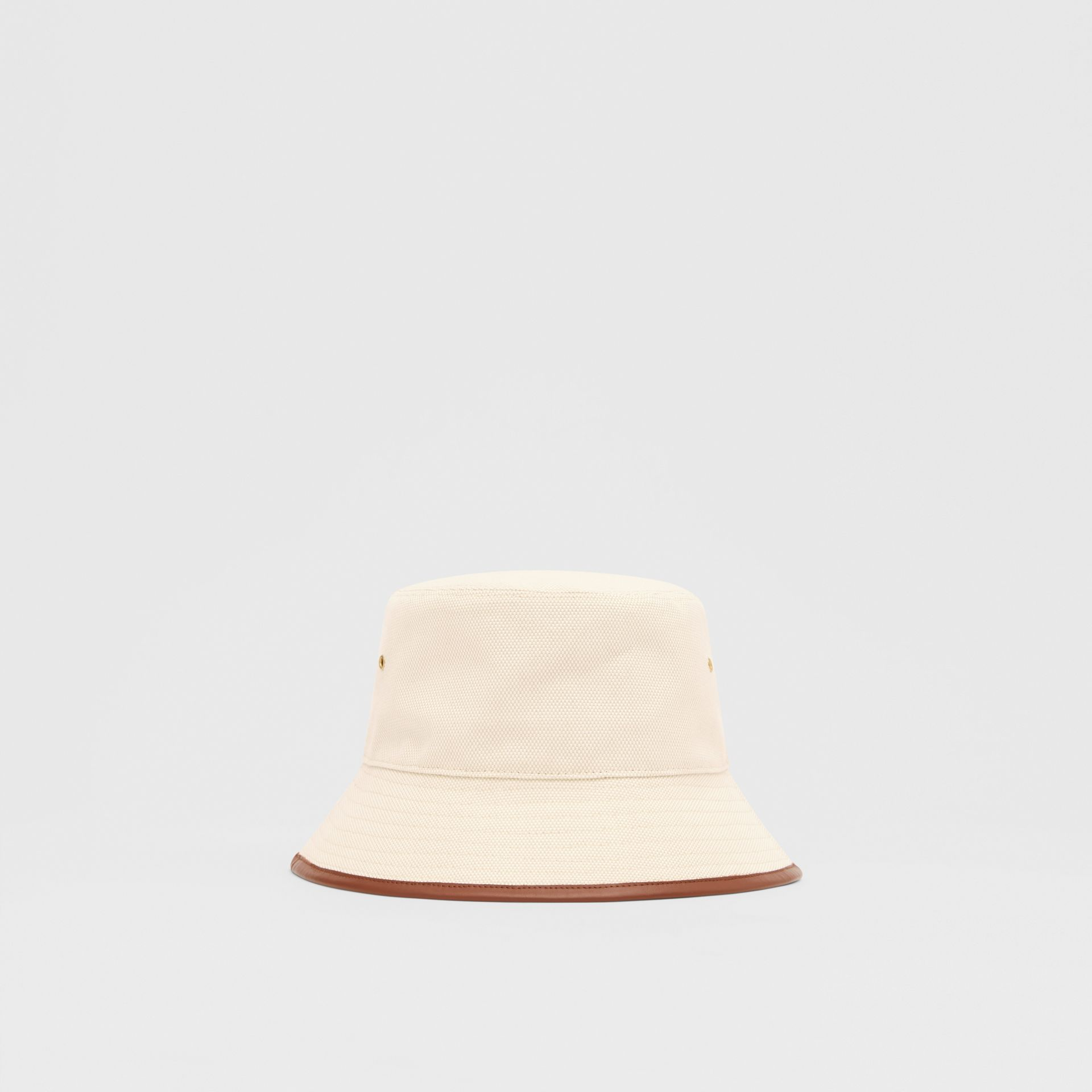 Leather Trim Logo Graphic Canvas Bucket Hat in Beige | Burberry United Kingdom - gallery image 6