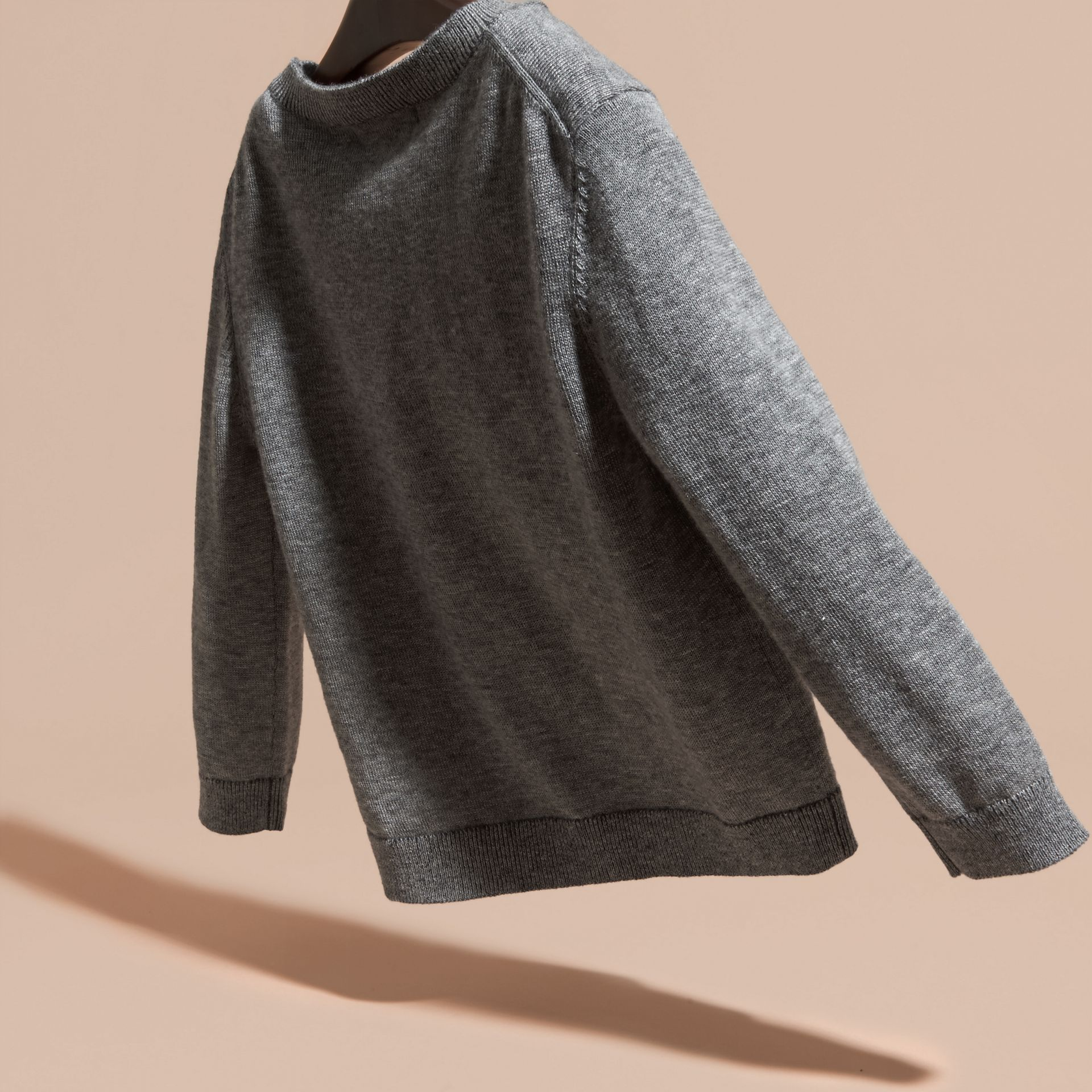 Light grey melange Equestrian Knight Detail Cashmere Sweater - gallery image 4