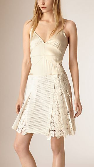 Silk Camisole Dress with Military Pleat Macramé Skirt