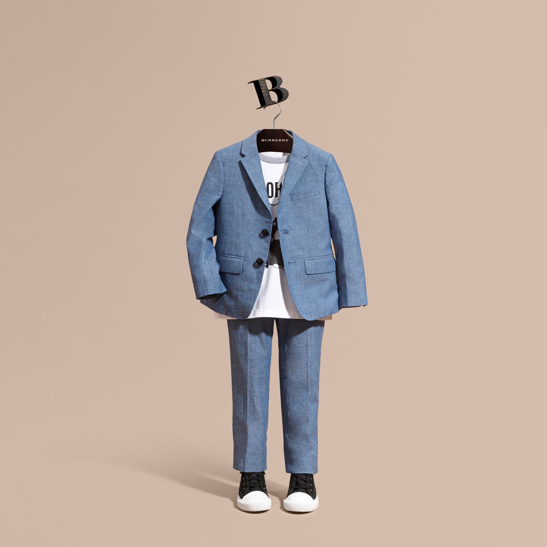 Chambray Cotton Blazer - Boy | Burberry - gallery image 1