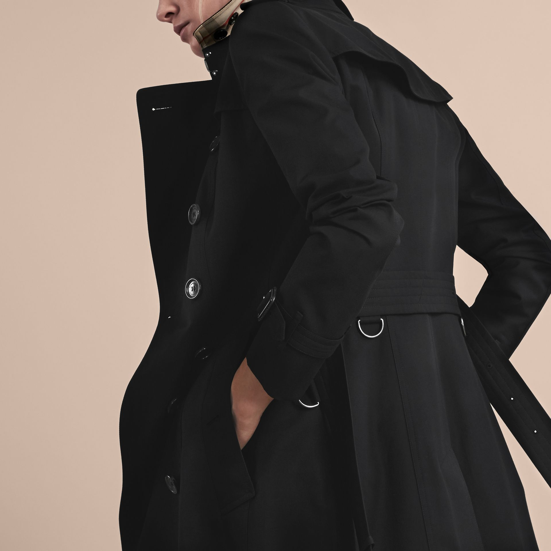 Black The Chelsea – Long Heritage Trench Coat Black - gallery image 7