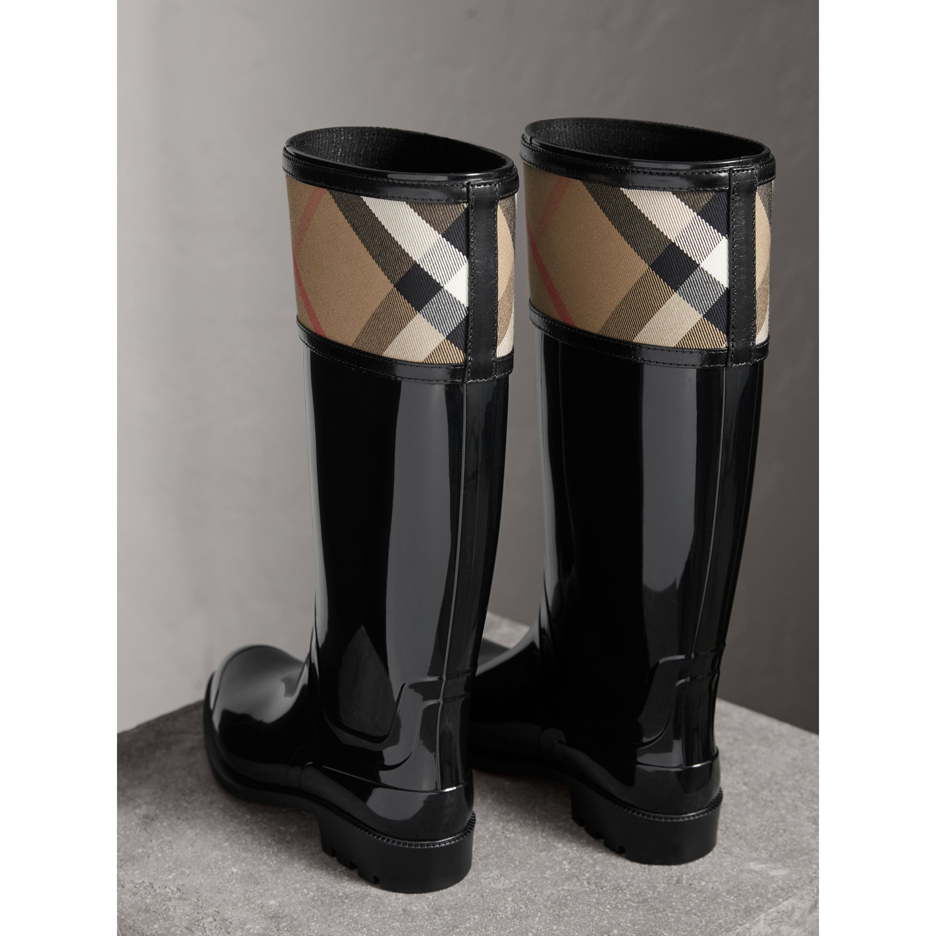 House Check Rain Boots in Black - Women | Burberry Hong Kong - gallery image 3