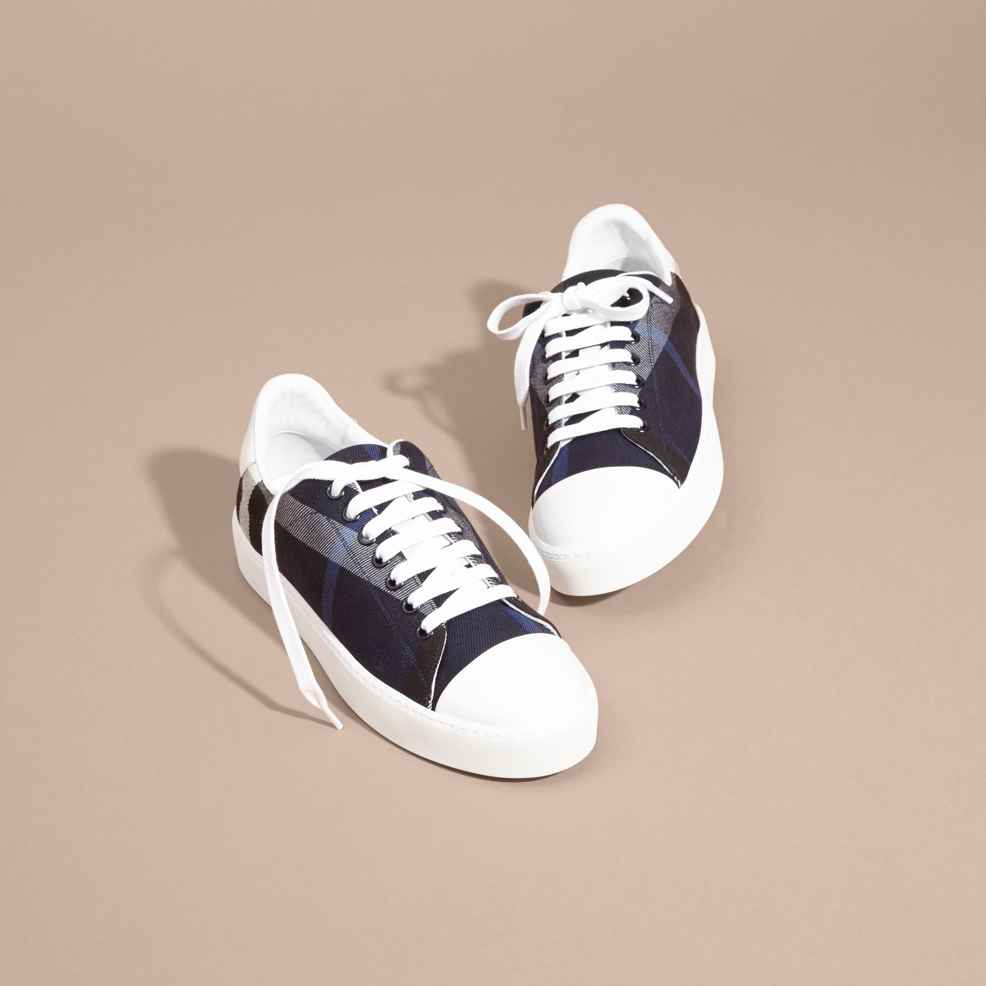 Check and Leather Trainers Indigo Blue - gallery image 3