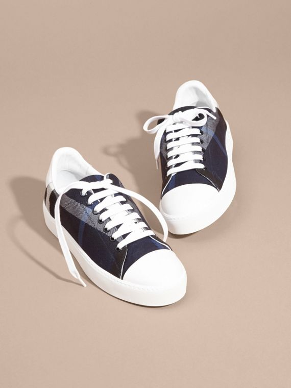 Check and Leather Trainers Indigo Blue - cell image 2