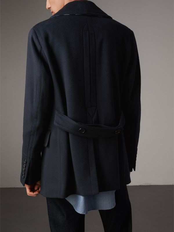 Wool Cashmere Pea Coat in Navy - Men | Burberry - cell image 2