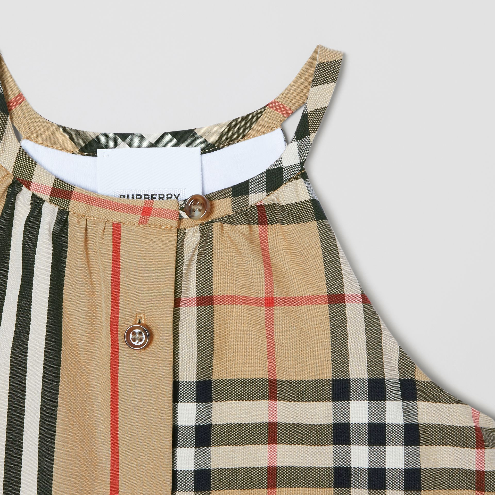Vintage Check and Icon Stripe Cotton Playsuit in Archive Beige - Children | Burberry - gallery image 4