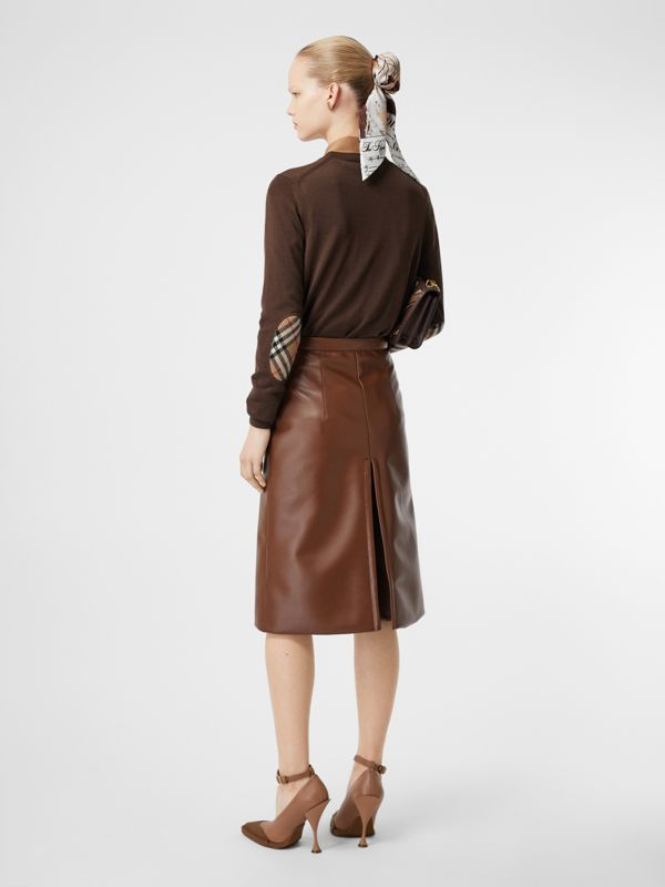 Vintage Check Detail Merino Wool Sweater in Bridle Brown - Women | Burberry Australia - cell image 3