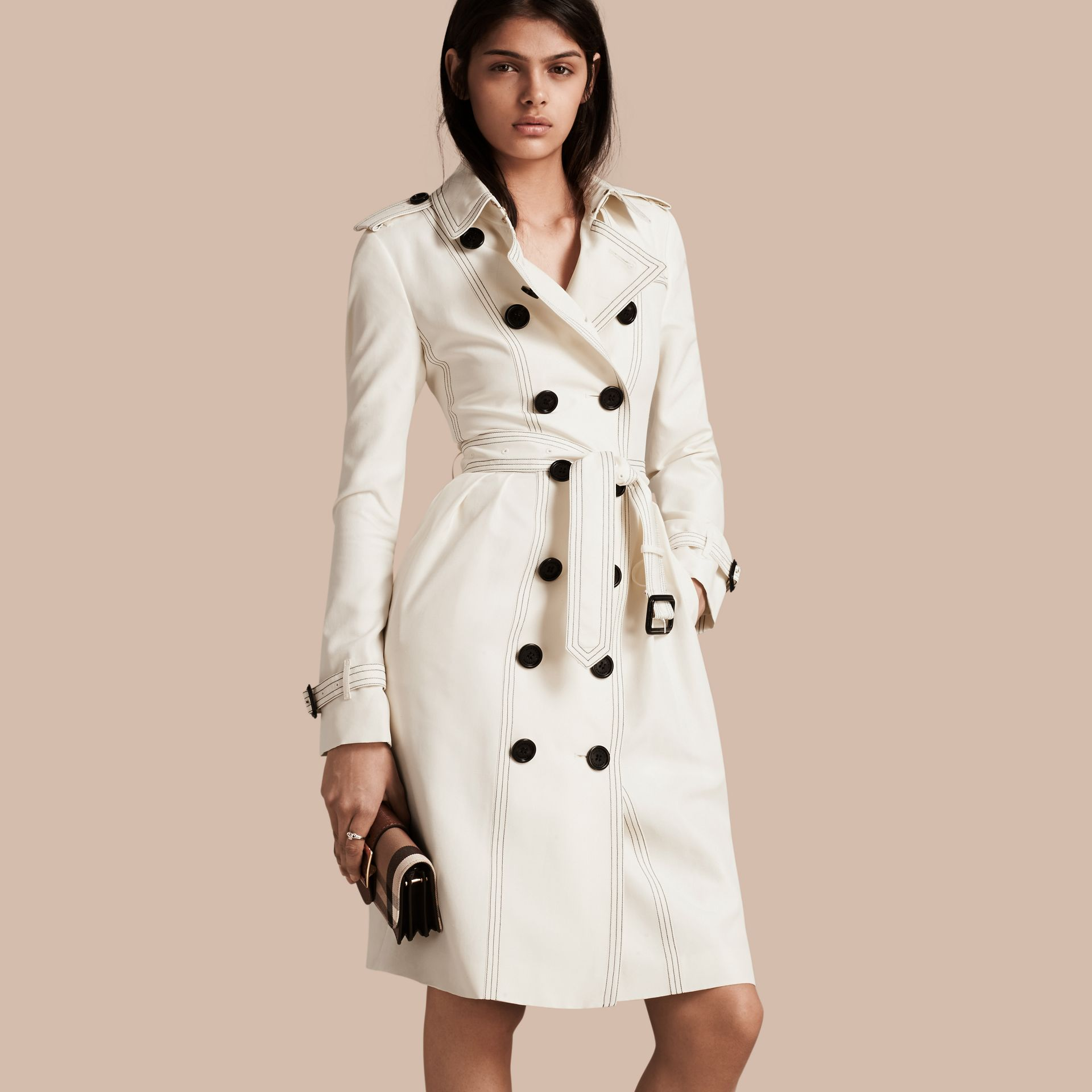 Parchment Silk Trench Coat with Topstitch Detail - gallery image 1