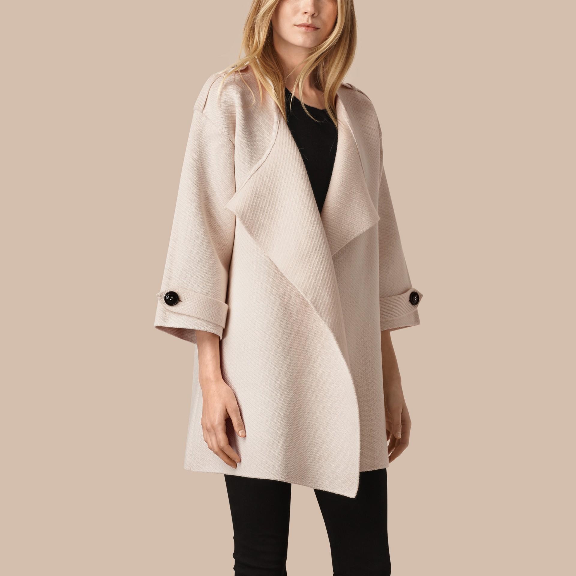 Blanc naturel Veste en maille de laine, cachemire et soie mélangés - photo de la galerie 1