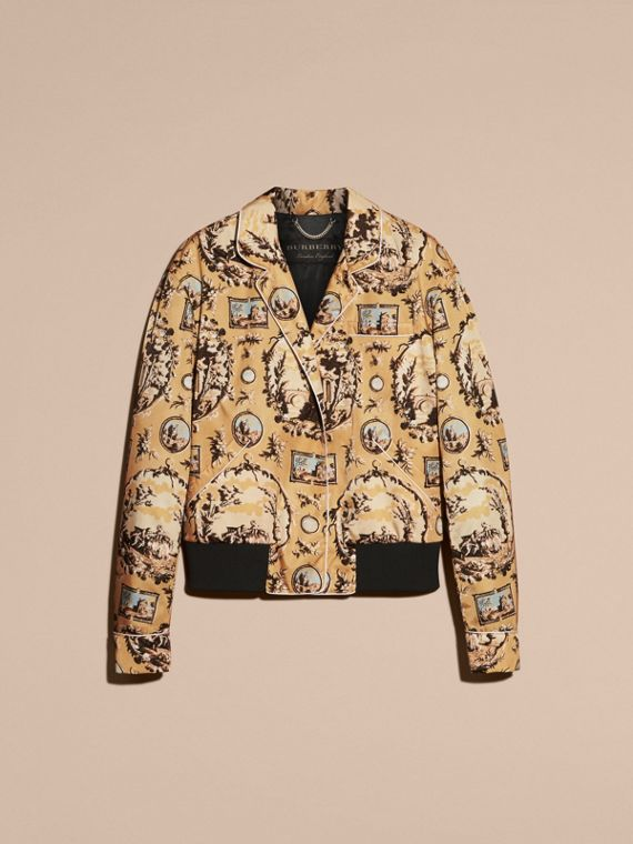 Yellow barley Wallpaper Print Bomber Jacket - cell image 3