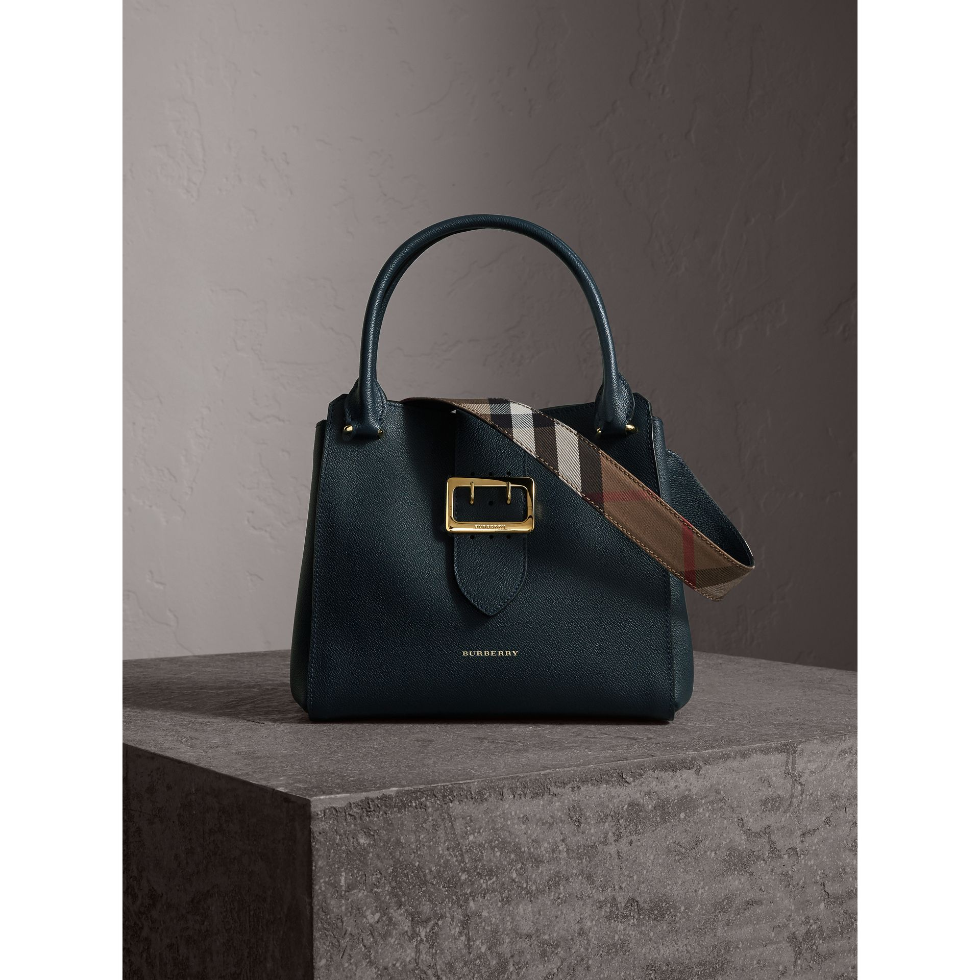 The Medium Buckle Tote in Grainy Leather in Blue Carbon - Women | Burberry Canada - gallery image 1