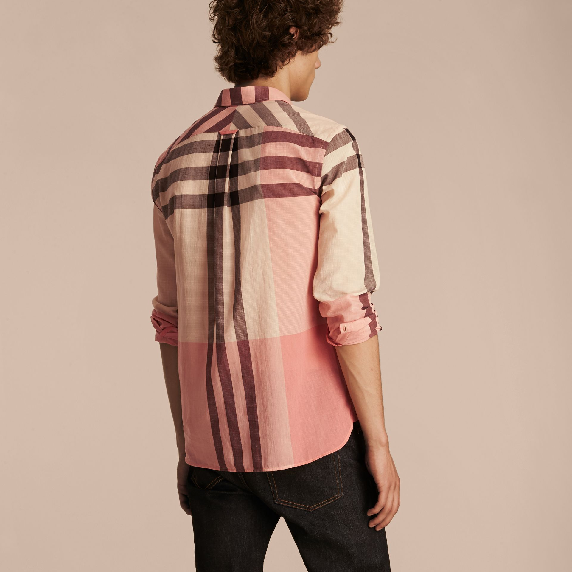 Check Cotton Poplin and Linen Shirt in Rose Pink - gallery image 3