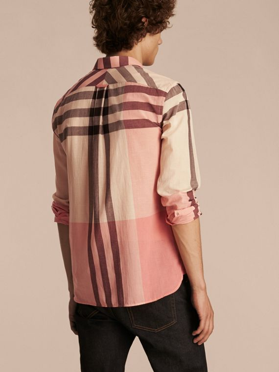 Check Cotton Poplin and Linen Shirt in Rose Pink - cell image 2