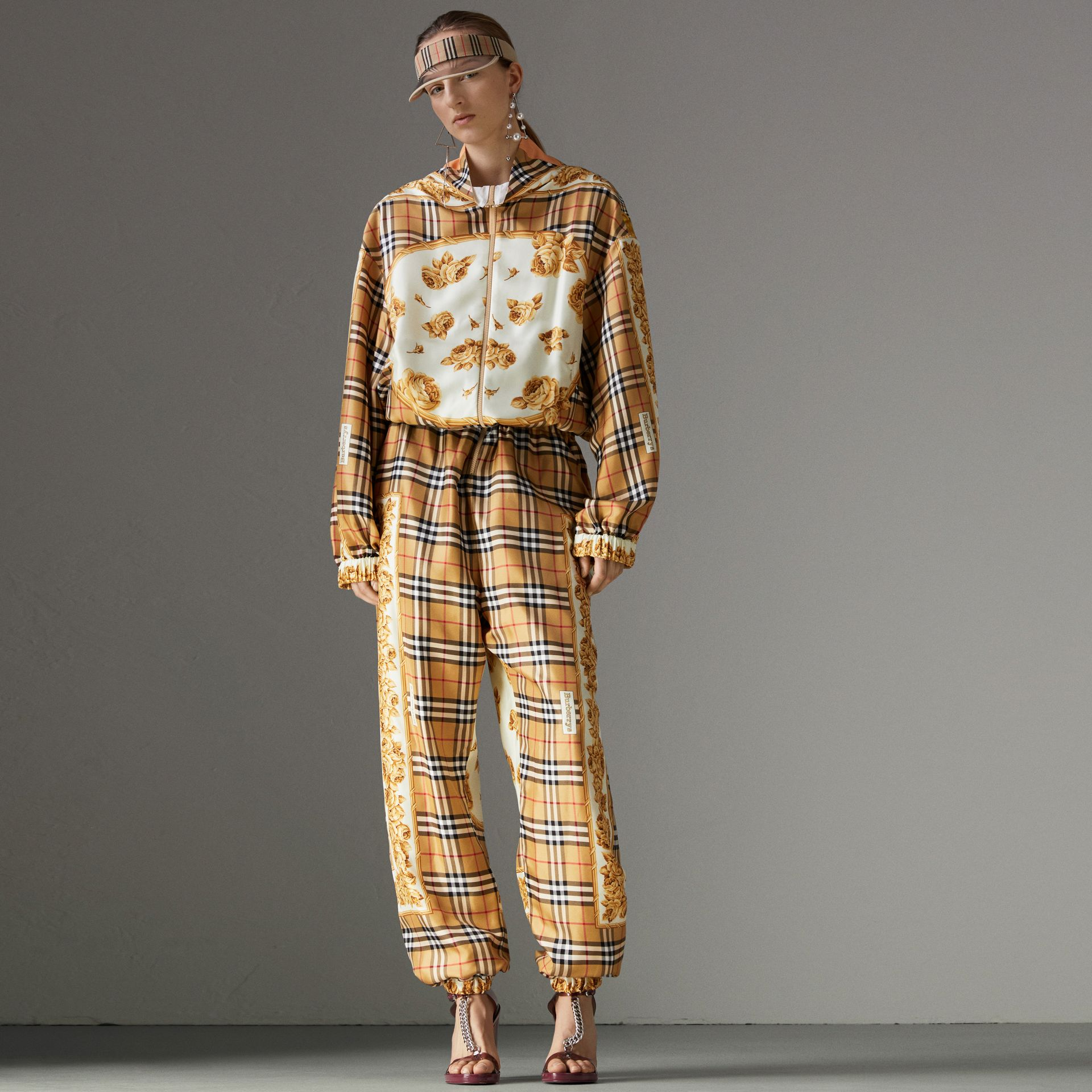 Vintage Check and Archive Scarf Print Jumpsuit in Antique Yellow - Women | Burberry - gallery image 0